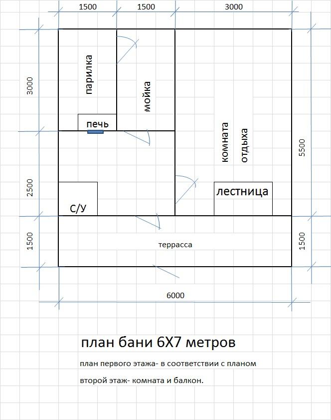 План бани 6Х7