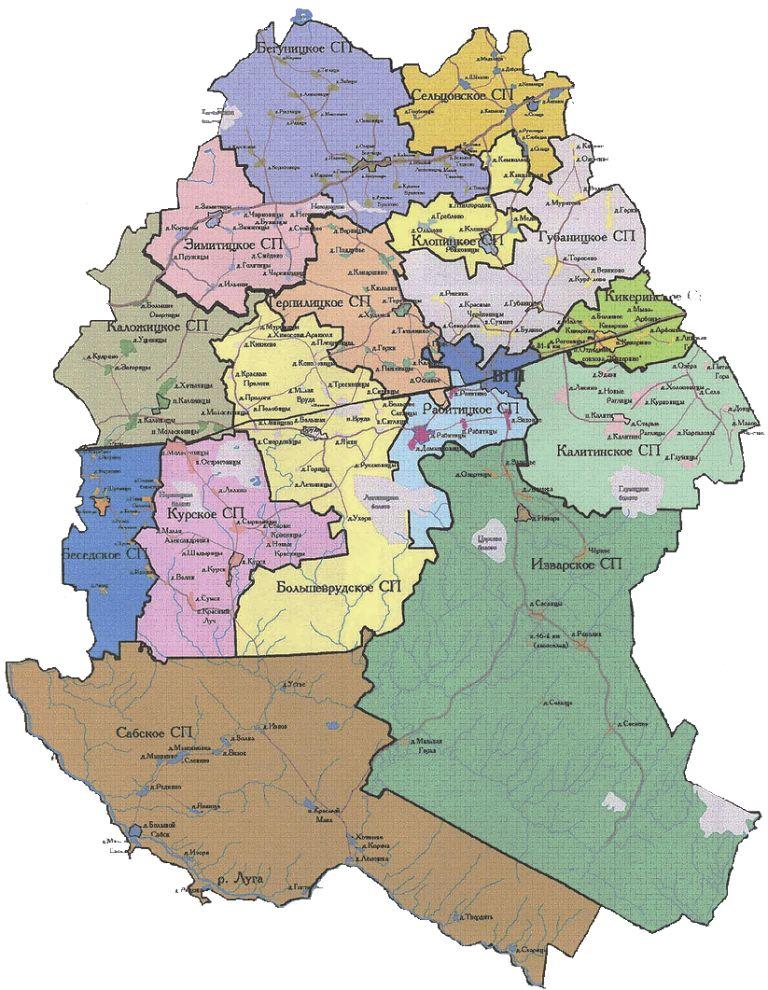 Карта Волосовского района