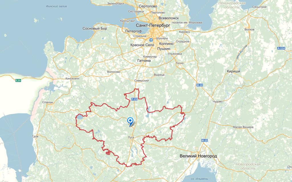 Карта Лужского района