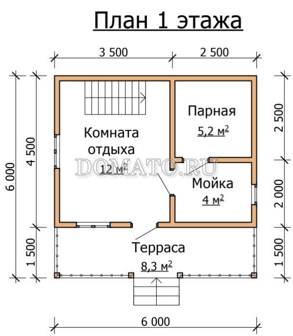 6×6 план бани планировка