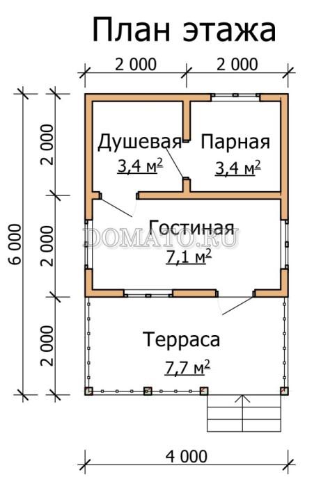 план бани 6×4