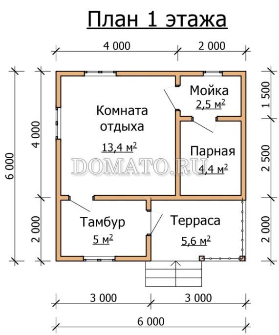 план одноэтажной бани 6×6