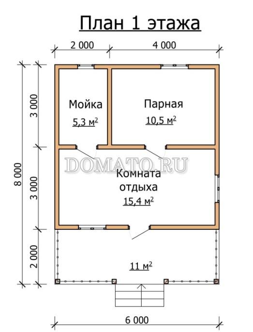 План бани 6×8