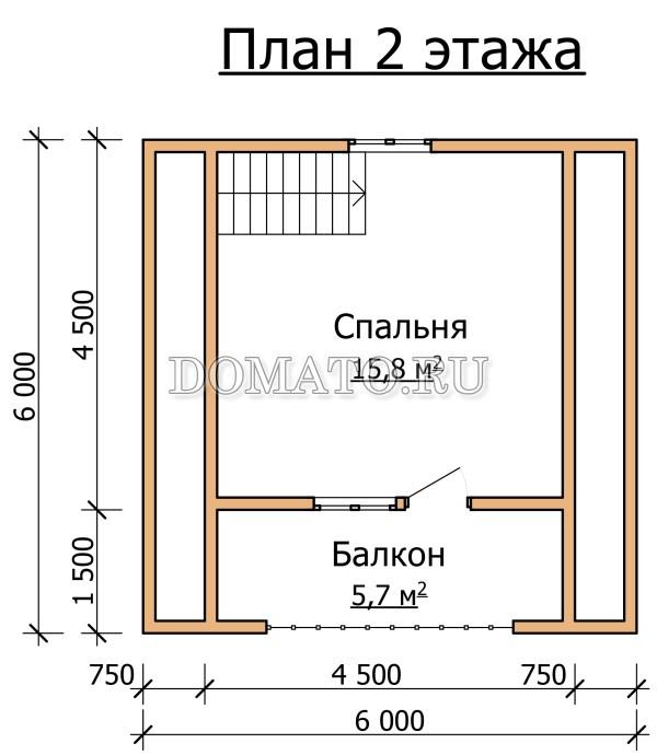 Проект двухэтажной бани 6х6 план 2 этажа
