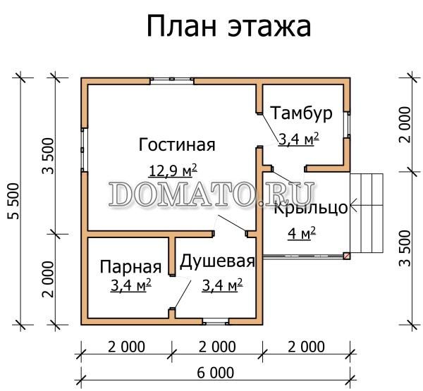 план бани 5,5×6
