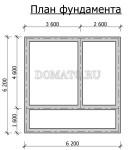 план фундамента проекта двухэтажной бани 6х6