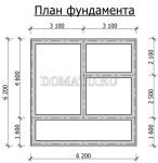 план фундамента  двухэтажной бани 6х6 с террасой