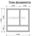 план фундамента бани с мансардой 6×6