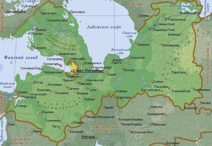 карта лениградская область