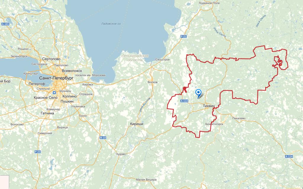 карта тихвинского района
