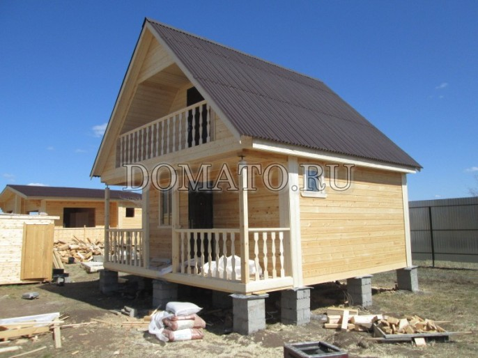 Дачный дом 6х7,5 – одноэтажный проект с террасой