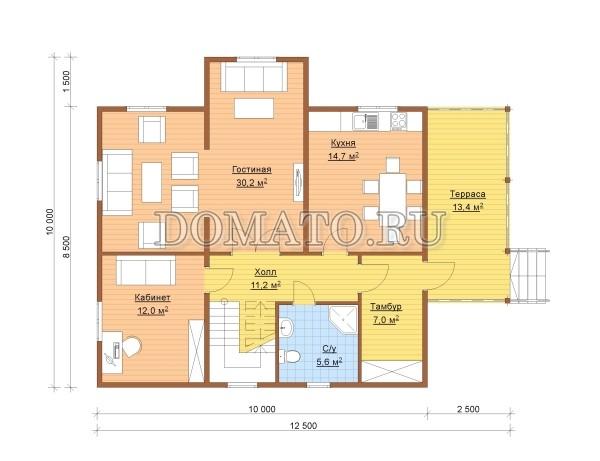 план 1 этаж дома 12,5 на 10