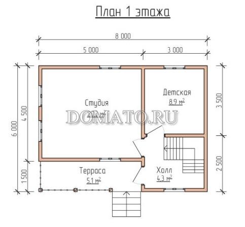 сруб12 план 1 этажа