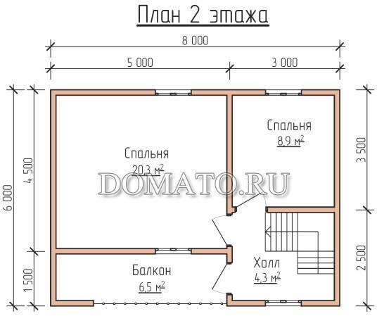 сруб12 план 2 этажа