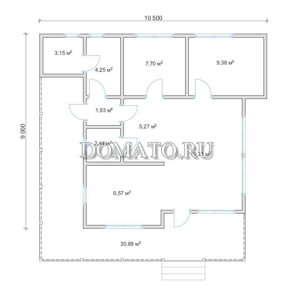 план №1 одноэтажного дома 10,5 на 9 из бруса