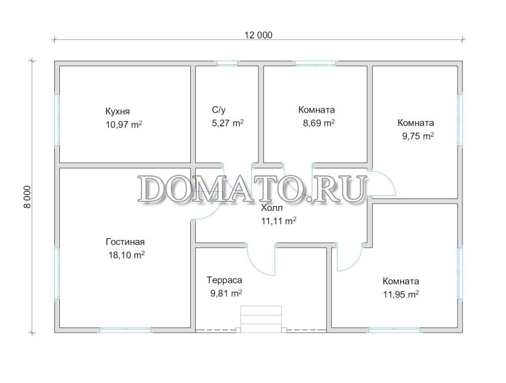 план одноэтажного дома 12 на 9