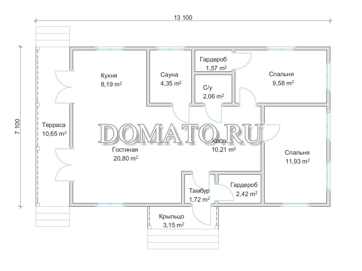 план большого одноэтажного дома 13 на 7