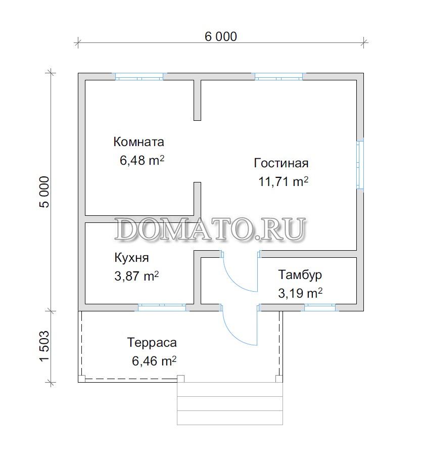 проект одноэтажного дома 5 на 6 с крыльцом