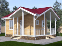 Дом одноэтажный 6х6 с террасой