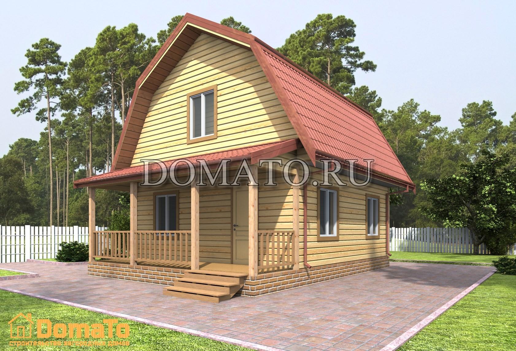 Деревянный дачный дом 6 на 6 с террасой