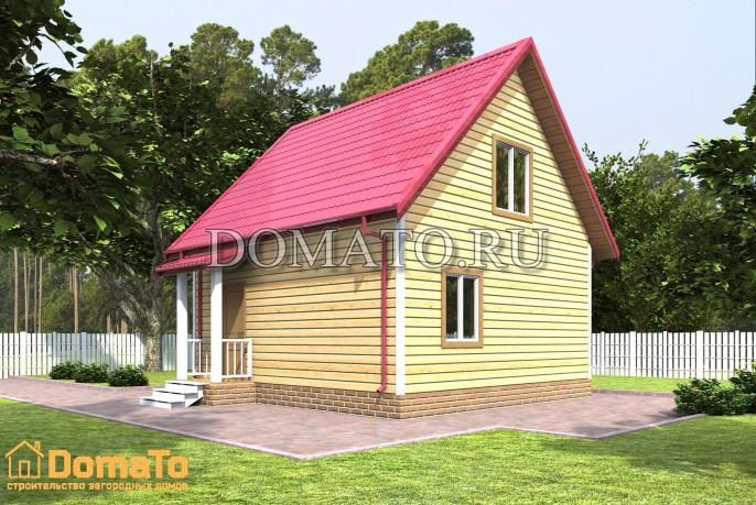 Деревянный дом 6х6 с крыльцом