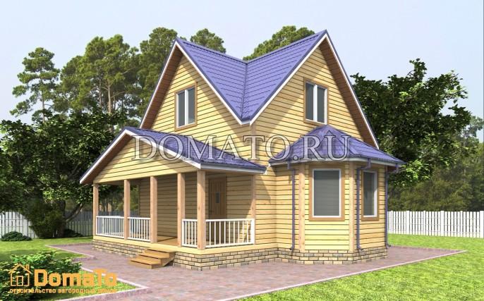 Дом 6×6 с террасой и эркером