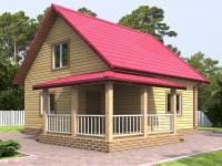 Дом 6 на 6 с двускатной крышей