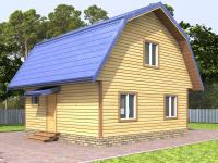 Дом 6 на 6 с ломаной крышей