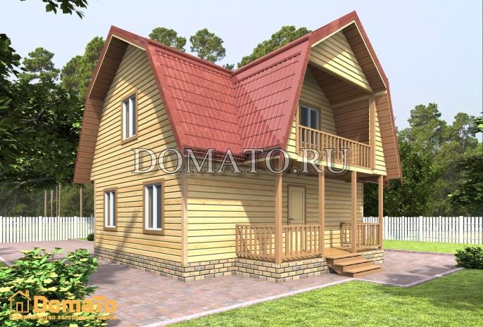 Дом 6 на 8 с террасой и балконом