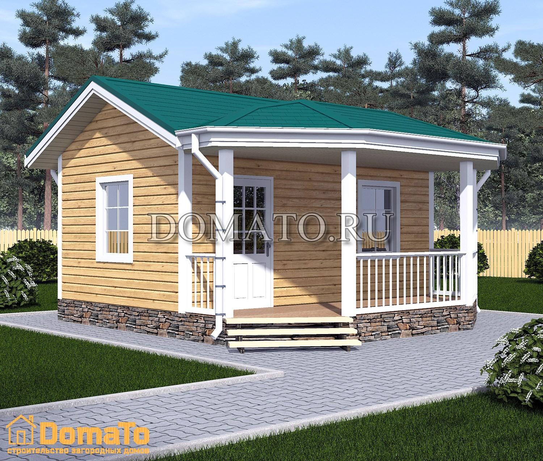 Домик одноэтажный с террасой 6 на 8