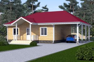 Одноэтажный дом 10 на 10 с навесом под авто_мини