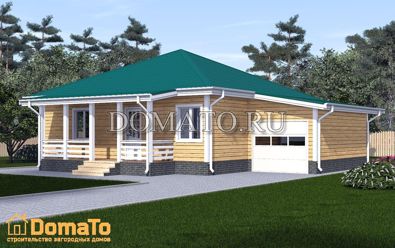 Одноэтажный дом 10х10 с гаражом