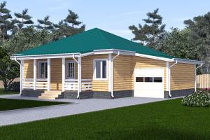 Одноэтажный дом 10х10 с гаражом_мини