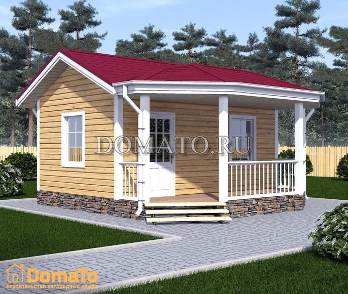 Одноэтажный дом 6х6 с террасой