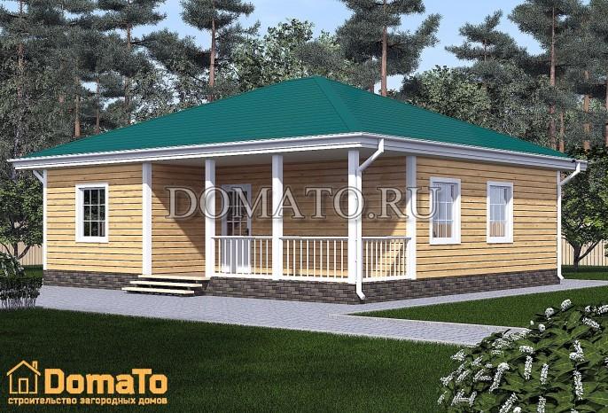 Одноэтажный дом 9х10 с террасой