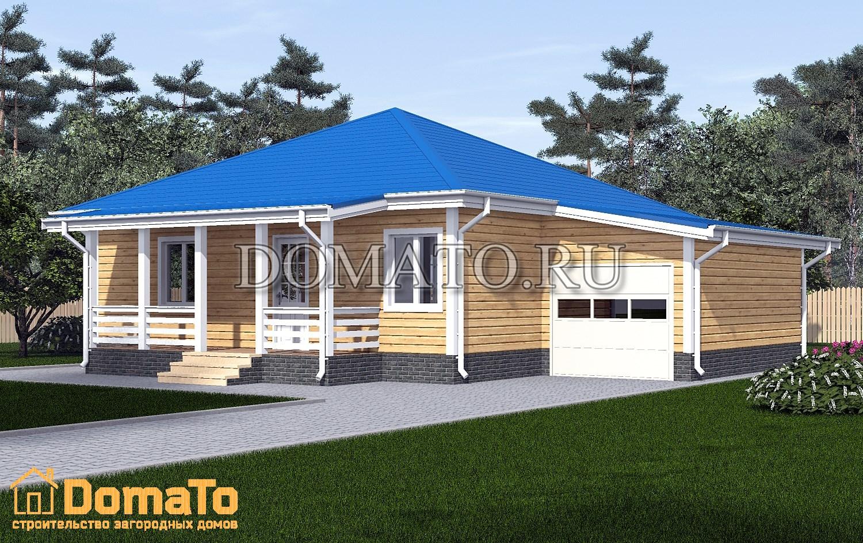 Одноэтажный дом 9х9 с гаражом