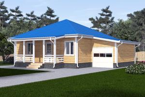 Одноэтажный дом 9х9 с гаражом_мини
