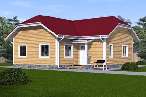 Одноэтажный  дом загородный 9х9_мини