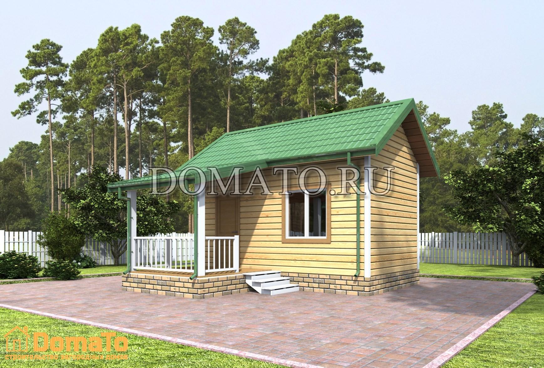 Одноэтажный домик 5 на 3 с террасой