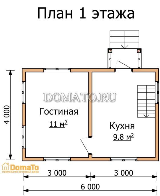 План 1 этажа 6 на 4