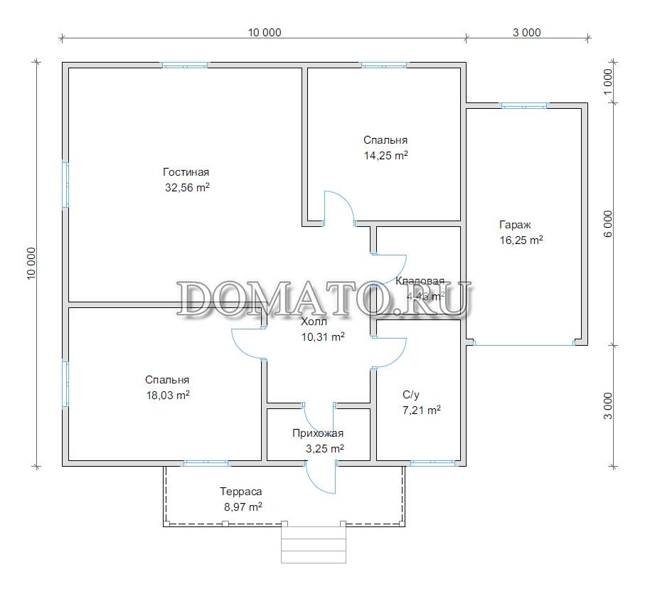 План дома 10х10 с гаражом