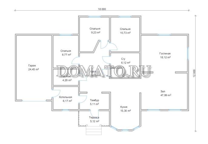 План дома 18 на 12 с гаражом