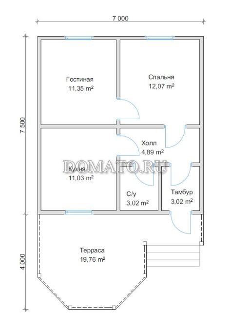 План дома 7,5х7 с террасой