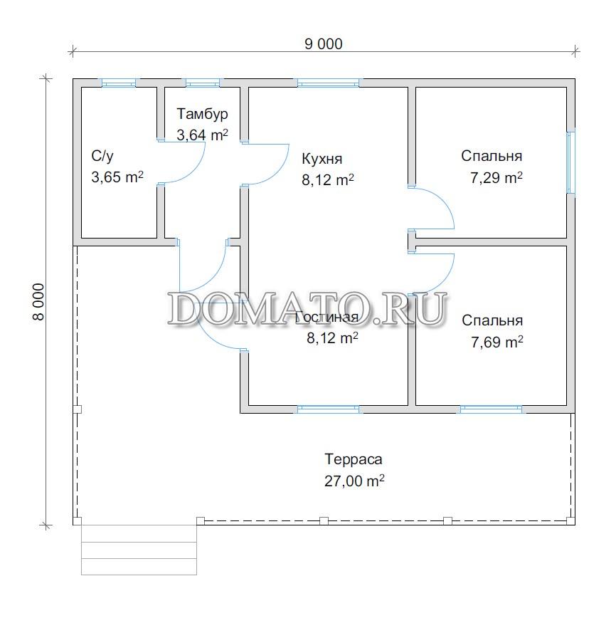 План дома 8х9 с террасой