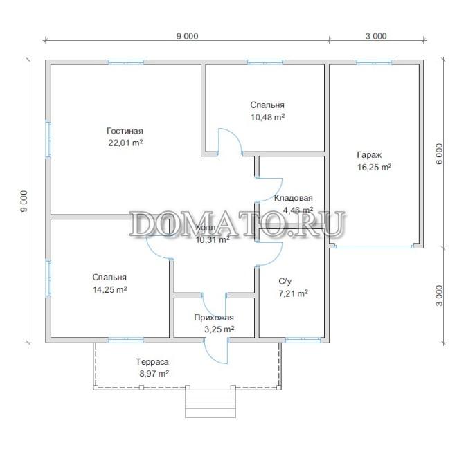 План дома 9х9 с гаражом