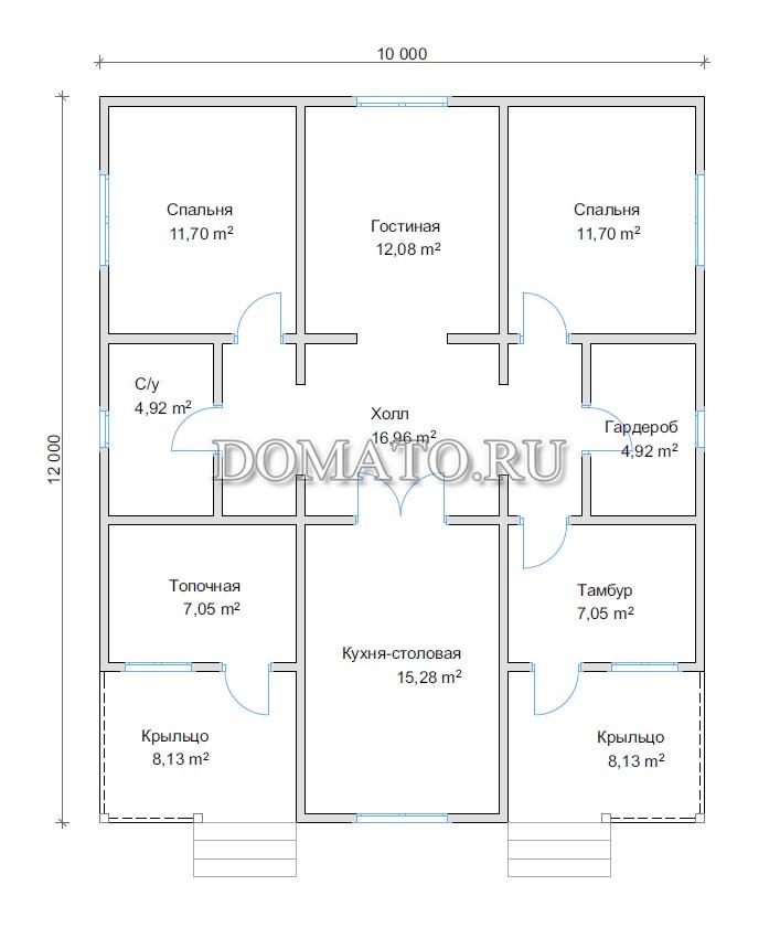 План дома одноэтажного 10х12