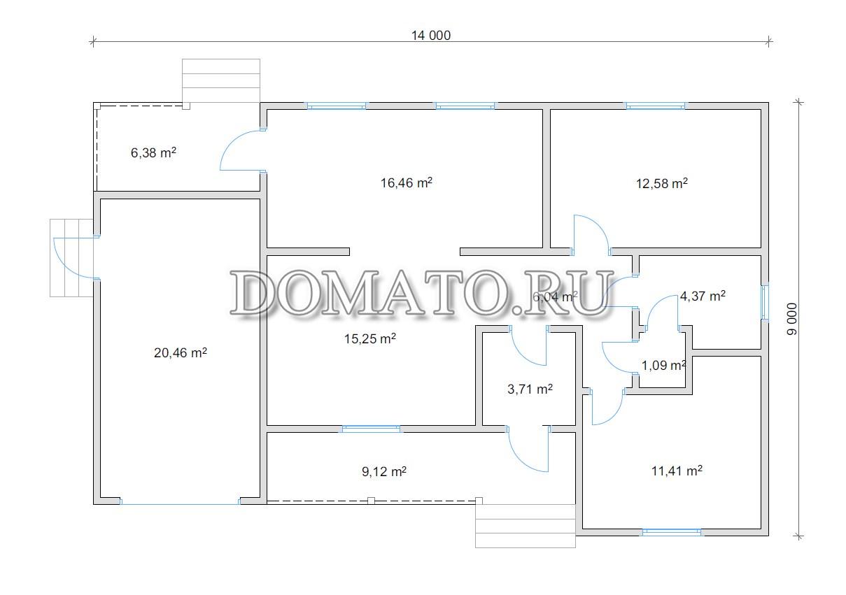 План дома с гаражом 14 на 9
