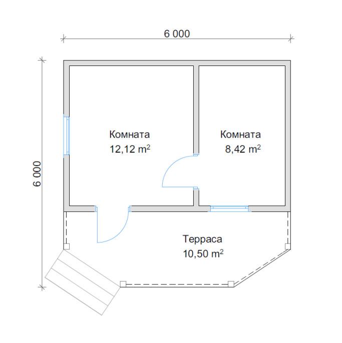 План дома с террасйо 6х6