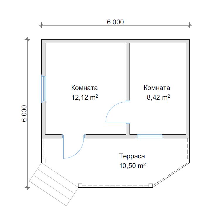 План дома с террасой 6х6