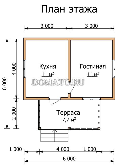 План  этажа дачного дома 6 на 4 с терассой